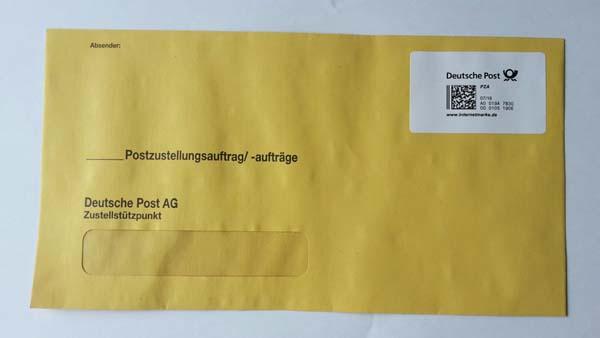Überumschlag für Postzustellungen freigemacht mit Produktmarke Postzustellungsauftrag, inkl. MwSt.